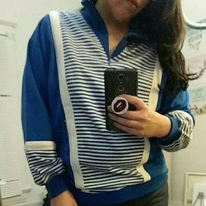 Vintage Nautical Blue & White Striped Sweater